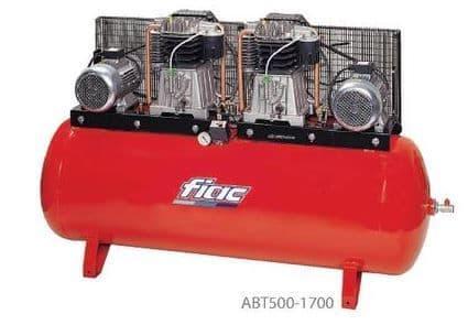 Fiac belt drive duplex ABT500-1700 2x7.5 HP, 400V, 500 litre tank Compressor