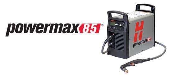 Hypertherm Powermax85 plasma cutters 38mm capacity.