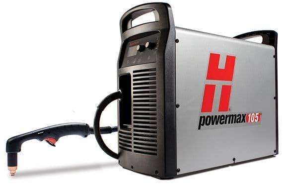 Low cost Hypertherm 059416 Powermax 105 Plasma cutting machine, 50mm capacity. 7.6m torch