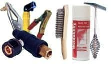 Welding cables, leads, accessories and chemical aids.