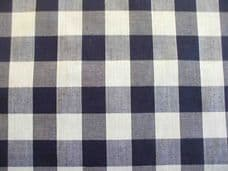 """1"""" Gingham Quality Polycotton Fabric in Navy Blue"""