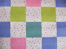 ALPHABET PATCHWORK ABC LETTERS  FABRIC GREEN PINK BLUE PER 1 METRE