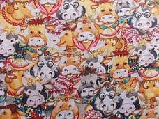 ANIMAL FARM COWS CHILDRENS FABRIC 100% COTTON PER 1 METRE 148CM WIDE