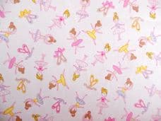 BALLERINA IVORY AND PINK CHILDRENS FABRIC 100% COTTON PER 1 METRE
