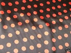 BLACK AND RED POLKA DOT  SATIN FABRIC