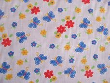 Butterfly and Flowers Print Polycotton Fabric