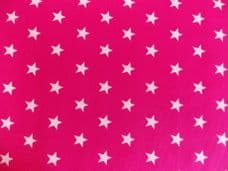Cerise pink with 20mm White Stars 100% Cotton Fabric