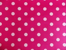 Cerise pink with 22mm White Spot 100% Cotton Fabric