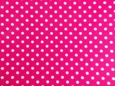 Cerise pink with 7mm White Spot 100% Cotton Fabric