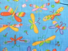 Dragonfly Print Polycotton Fabric in Blue