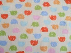 ELEPHANT MULTI COLOUR CHILDRENS FABRIC 100% COTTON PER 1 METRE LEMON BACK