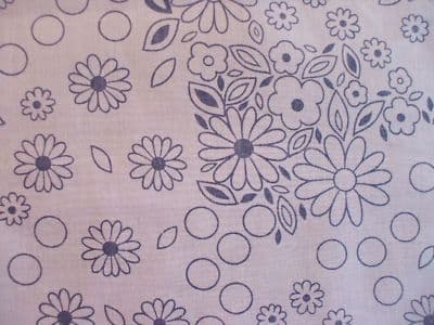 Flowers Print Polycotton Fabric in Blue