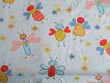 Honey Bee Print 100% Cotton Fabric in Blue