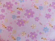 LARGE DAISY AND GINGHAM FLORAL100% COTTON FABRIC PER METRE LILAC