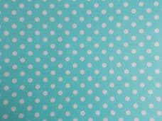 Mint Green with 7mm White Spot 100% Cotton Fabric