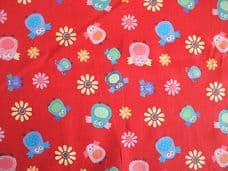 Owl Bird Floral Print 100% Cotton in Red
