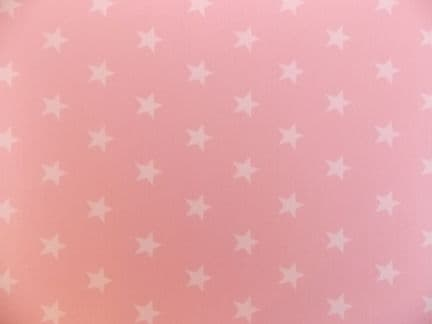 pale Pink with 20mm White Stars 100% Cotton Fabric ROSE & HUBBLE