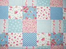 PATCHWORK PALE BLUE FABRIC 100% COTTON PER 1 METRE FLORAL GINGHAM SPOT