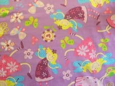 pink Fairy & Butterflies Print 100% Cotton Fabric