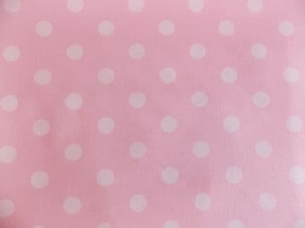 Pink with 22mm White Spot 100% Cotton Fabric