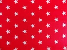 Red with 20mm White Stars 100% Cotton Fabric ROSE & HUBBLE
