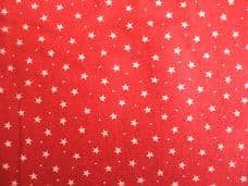 Red with 3mm White Stars 100% Cotton Fabric