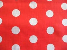 Red with white spot Polka dot poly cotton fabric