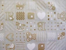 Rocking Horse Print Polycotton Fabric in Cream