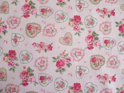 ROSE FLORAL HEARTS 100% COTTON FABRIC SHABBY CHIC VINTAGE RETRO PM PINK NO3