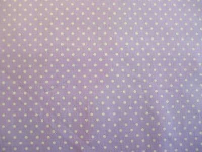 Rose & Hubble Lilac with 3mm White Spot 100% Cotton Fabric