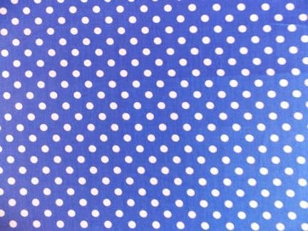 Royal Blue with 7mm White Spot 100% Cotton Fabric