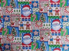 SANTA CHRISTMAS GINGER BREAD COOKIES CHILDRENS XMAS PRINT FABRIC