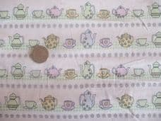 TEAPOTS CUPS AND SAUCERS 100% COTTON  CHILDRENS PRINT FABRIC P METRE MINT