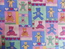 TEDDYBEARS PICNIC 100% COTTON CHILDRENS FABRIC 150CM WIDE