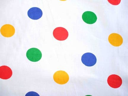 White with 14mm Multi Spot Polycotton Fabric