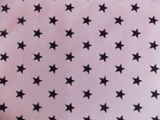White with 20mm Black Stars 100% Cotton Fabric