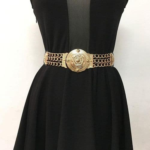 A Belt Women's Elastic Belts Black Stretch Vintage Style Buckle & Chains  Zabardo (1)