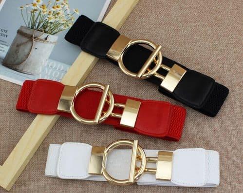 A Belt Women's Elastic Belts Stretch Fashion Belt Gold Ring Buckle Zabardo