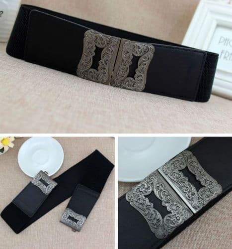 A Belt Women's Elastic Stretch Belts  Embossed Antique Silver Buckle  Zabardo