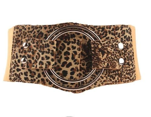 A Belts  Leopard Stretch  Womens Belt Large O Ring Buckle  Fashion Belts Zabardo