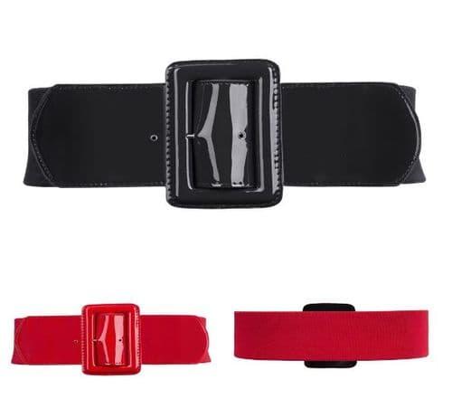 Awesome Belt Women's Elastic Belts Black/Red Patent Buckle   Zabardo