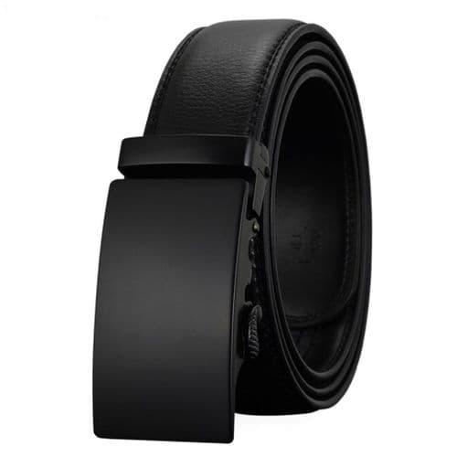 Belt Men's Black Buckle Genuine Leather Cowskin Mens Belts Auto Buckle Zabardo