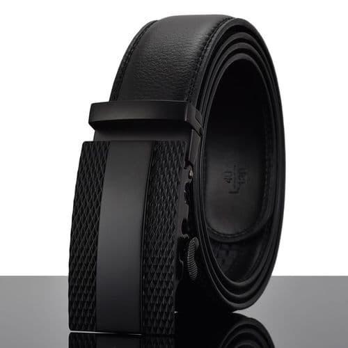Belt Men's Black Buckle Genuine Leather Cowskin Mens Belts Auto-Buckle Zabardo