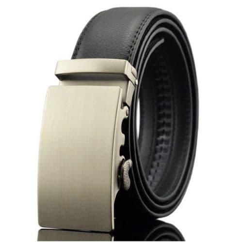 Belt Men's Black Cowskin Leather Mens Business Belts Automatic-Buckle Zabardo