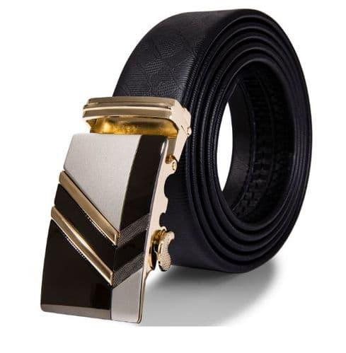 Belt Men's Black Cowskin Leather -  Mens Business Belts - Contrast Auto Buckle Zabardo