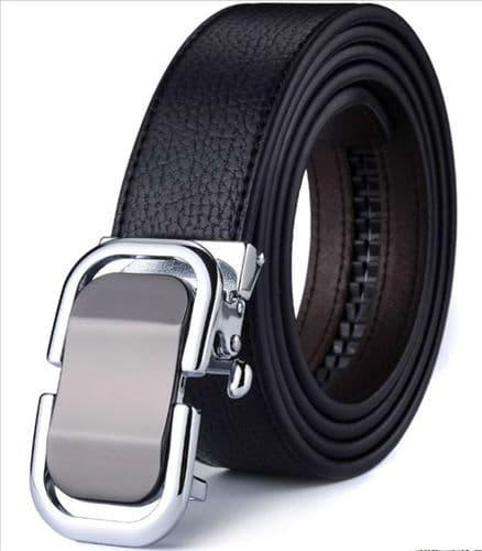 Belt Men's  Black Cowskin Leather Mens Business Belts Design Black Auto Buckle Zabardo