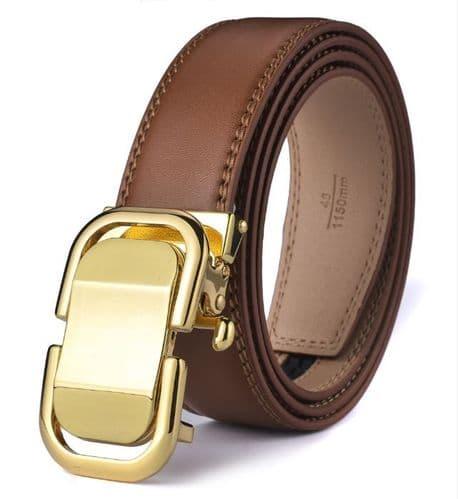Belt Men's Black Cowskin Leather  Mens Business Belts Design Gold Auto Buckle Zabardo