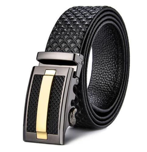 Belt Men's Black Cowskin Leather Mens Business Belts Embossed Black/Gold Auto Buckle Zabardo