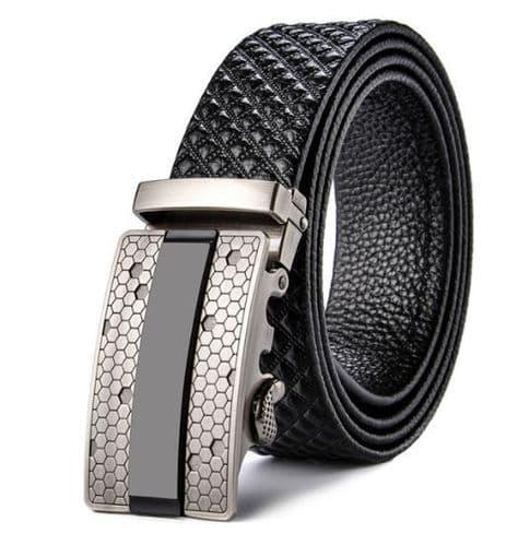 Belt Men's Black Cowskin Leather Mens Business Belts Embossed Silver Auto-Buckle Zabardo