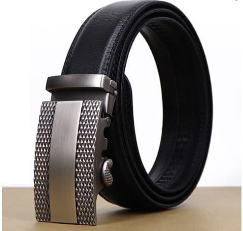 Belt Men's Black Cowskin Leather -  Mens Business Belts - Silver Etched Auto Buckle Zabardo
